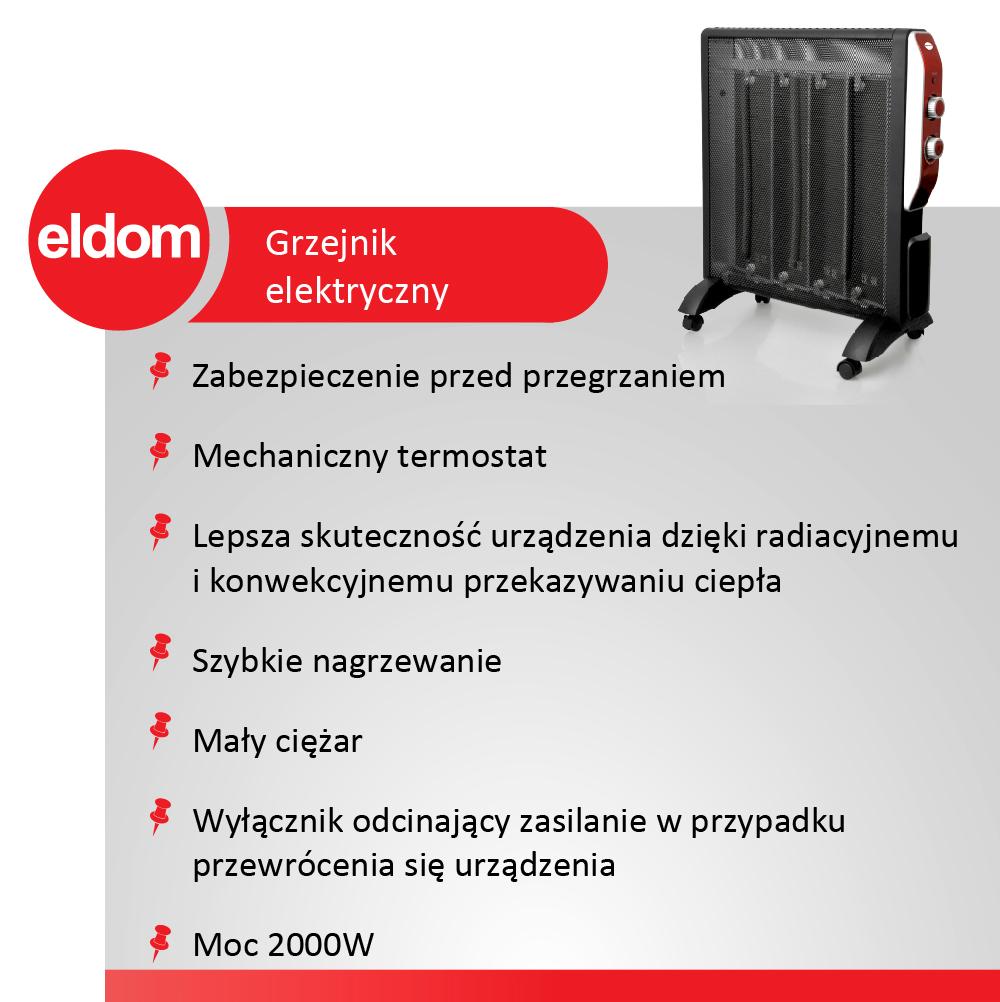 Grzejnik konwektorowy Eldom HM1300 2000W CZARNY